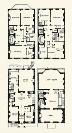 The Gilded Age Era: Vincent Astor Townhouse. It has a flower room, which is essential, really. Victorian Townhouse, London Townhouse, Victorian Homes, The Plan, How To Plan, Architectural Floor Plans, Vintage House Plans, House Blueprints, Sims House