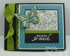 Notice the butterfly is stamped in the same pattern! mom's border punch --- Stamps: Fine Flourish (Stampin' Up)