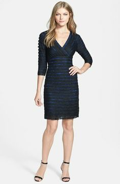 Adrianna Papell Pleat Lace Sheath Dress (Regular & Petite) available at #Nordstrom