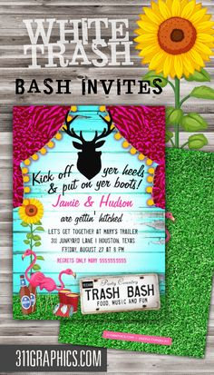 White trash party invite wording google search party time white trash bash birthday dinner party invitation trash bash redneck party trailer stopboris