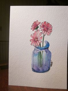 Pink Zinnia Watercolor Card by gardenblooms on Etsy