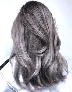 Silver hair is still on-trend this year! Wanna find a right silver hair color? Check out these 40 awesome shades for all hair types, textures & lengths! Platinum Silver Hair Color, Dark Silver Hair, Dark Grey Hair Color, Soft Black Hair, Short Silver Hair, Silver Ombre Hair, Silver Blonde, Lilac Hair, Hair Color For Black Hair