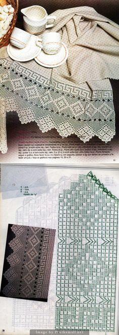 Filet crochet lace edging, Greek key & diamond points ~~ http://crocheartemanuais.blogspot.com/2013/12/barradinhos_7447.html