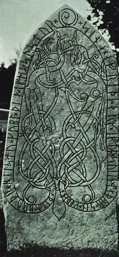 A runestone, which is typically a raised stone with a runic inscription, but the term can also be applied to inscriptions on boulders and on bedrock. The tradition began in the 4th century and it lasted into the 12th century, but most of the runestones date from the late Viking Age.