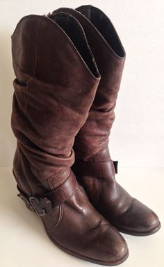 Matisse Cowboy Western Boots Sz 8.5 M Willie Womens Brown Leather Buckle Slouchy #Matisse #CowboyWestern #Casual
