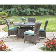 Martha Stewart Living Lake Adela Distressed Grey 5-Piece All-Weather Patio Dining Set with Surf Cushions - 1928710390 - The Home Depot