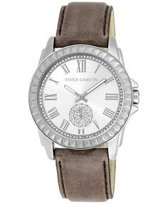 Vince Camuto Women's Taupe Leather Strap Watch 43mm VC/5195SVTP