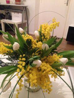 mimosa tulip flower arrangement