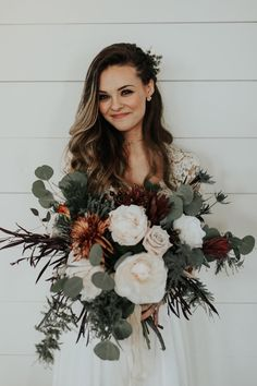Large ivory and sage green wedding bouquet perfect for a winter wedding Image by Peyton Rainey Photography and Chelsea Denise Photography Bouquet Bride, Wedding Bouquets, Bouquet Flowers, Greenery Bouquets, Rustic Bouquet, Diy Flowers, Wedding Dresses, Floral Wedding, Fall Wedding