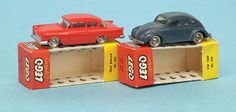 Lego Opel Rekord and VW Beetle 1950s