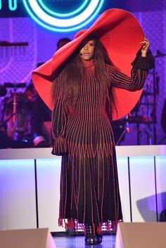 Erykah Badu Wearing Alon Livne custom-made design hat to The Soul Train Awards - HarpersBAZAAR.com