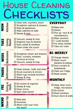 House Cleaning Checklists - housekeeping checklist of chores to keep house clean Monthly Cleaning Schedule, Cleaning Checklist Printable, Clean House Schedule, House Cleaning Checklist, Speed Cleaning, Cleaning Hacks, Housekeeper Checklist, Household Notebook, How To Make Bed