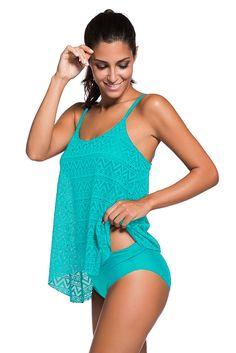 dd081f855d Lace Overlay Spaghetti Straps Tankini Swimsuit - Aqua, (US 22-24)XXXL