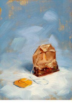 Teabag in Blue - 5x7 Print of original oil painting. $14,00, via Etsy.