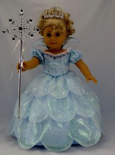 Galinda Good Witch Costume from Wicked sized to fit American Girl Doll or other 18 inch Dolls. $105.00, via Etsy.