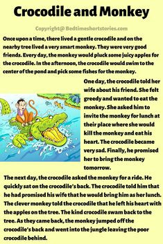 This is the Monkey And Crocodile Story for kids to read. Read full story in the link above. Stories With Moral Lessons, English Moral Stories, English Stories For Kids, Short Moral Stories, English Worksheets For Kids, English Story, Kids English, English Reading, Ap English