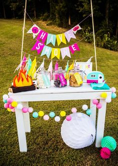 The S'more bar at this Girly Glamping Birthday Party is pretty cool! See more party ideas and share yours at CatchMyParty.com