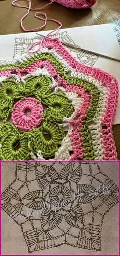 Crochet mandala patterns are a vibrant way to add yarny goodness to your home. This free crochet pattern is bright and beautiful, allowing you to use up scraps Mandala Au Crochet, Crochet Stars, Crochet Motifs, Crochet Blocks, Crochet Diagram, Crochet Afghans, Crochet Doilies, Crochet Flowers, Crochet Stitches