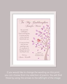 Goddaughter Print Personalized Goddaughter by GoldHousePrints