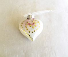 Glass Heart Ornament Painted Cream Green Gold by WithAllMyArt