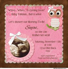 Owl Ultrasound Invitation - Pretty Pink & Brown Baby Shower Photo