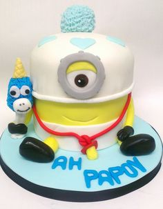 Mega Baby Minion - this cake was made for one of my sisters 19th birthday yesterday, she loves minions especially the baby minion. So this is what she decided would be the perfect cake for her. I really enjoyed making this as it was my first one. He was made with four layers of moist chocolate sponge cake