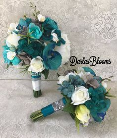 30 New Ideas For Bridal Bouquet Teal Bridesmaid Teal Wedding Flowers, Teal And Grey Wedding, Wedding Bouquets, Bridesmaid Bouquets, Wedding Cakes, Peacock Wedding, Fake Flowers, Wedding Veils, Wedding Hair