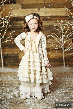 Mustard Pie Clothing - Noel Dress in Golden Vanilla Holiday