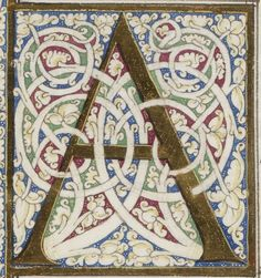 Presumed enlumineur: Gioacchino de Gigantibus & Cola Rapicano, ca. The manuscript belonged to Ferdinand I of Aragon, King of Naples, he was part of the library of Aragonese kings of Naples. Medieval Manuscript, Medieval Art, Illuminated Letters, Illuminated Manuscript, Calligraphy Letters, Alphabet And Numbers, Letter Art, Monogram Letters, Hand Lettering