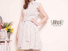 Moi 風格服飾顯瘦棉麻材質條紋洋裝
