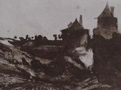"""Ce détail d'un dessin de Victor Hugo représente la campagne, """"le soir, quand fuit la nuit agile"""", avec les silhouettes de deux tours - Lié au poème """"Mugitusque boum"""", du recueil """"Les Contemplations"""" (""""En Marche""""), de ce même Victor Hugo."""