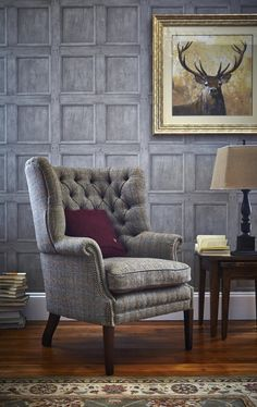 traditional living rooms harris tweed wingback armchair