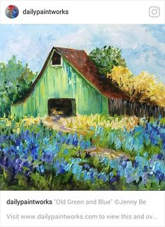 "Daily Paintworks – ""Old Green and Blue"" – Original Fine Art for Sale – © Jenny … - Canvas Painting Barn Pictures, Pictures To Paint, Landscape Art, Landscape Paintings, Impressionist Paintings, Contemporary Landscape, Impressionism, Farm Paintings, Farmhouse Paintings"