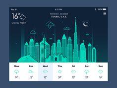 날씨어플로 추정돠는데 단순 메타포로만의표시가아닌 그림일러스트로 눈이오는지 비가오는지 도시의배경에 표시가되어 재미있으면서도 신기한 어플입니다…