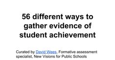 56 different ways to gather evidence of student achievement Curated by David Wees, Formative assessment specialist, New Visions for Public Schools