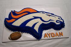 Denver Broncos Cake Pan for Sale Pretty Cakes, Cute Cakes, Denver Broncos Cake, Armadillo Cake, Sports Themed Cakes, Football Birthday, Specialty Cakes, Occasion Cakes, Creative Cakes