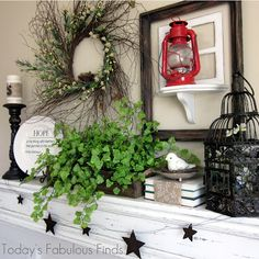Today's Fabulous Finds: Thrifty Spring Mantel