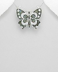sterling silver butterfly pendant decorated with lab-created opal and set with cubic zirconia