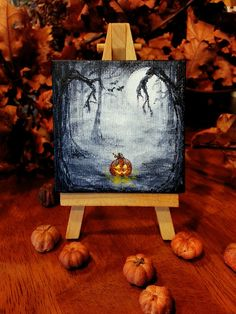 Halloween Decoration Pumpkin Spooky Jack O Lantern Acrylic Painting Canvas Easel Original Forest Black Night Skies Miniature Canvas 3 x 3
