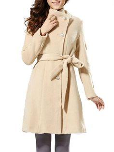 Elegant Single Breasted Slim Long Sleeve Wool Coat