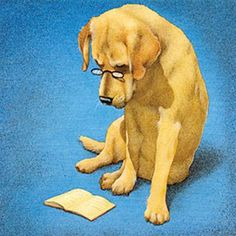 Dog reading / Perro lector (ilustración de Will Bullas)