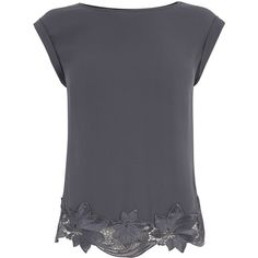 OASIS Lace Hem Tee ($18) ❤ liked on Polyvore featuring tops, t-shirts, shirts, tees, grey, lace tee, embroidery t shirts, grey lace shirt, lace top and oasis shirt