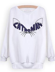 Sudadera gato manga larga-Blanco US$21.97