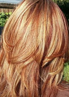 Auburn and Blond High/Low Lights (Caramel) Color and Cut/Style