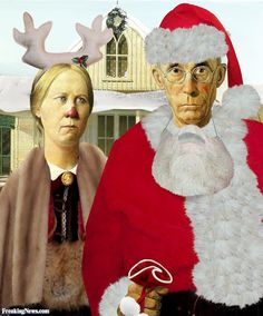 Grant Wood via Christmas American Gothic Painting, American Gothic House, Grant Wood American Gothic, American Gothic Parody, American Art, Grant Wood Paintings, Mona Friends, Mona Lisa, Gothic Pictures