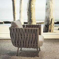 We're loving this lounge chair by Janus et Cie—the braided detail adds a softness and visual interest, but the study stainless steel frame means it plenty durable. Outdoor Sofa, Outdoor Furniture Sofa, Outdoor Lounge Chairs, Pipe Furniture, Rustic Furniture, Modern Furniture, Outdoor Living, Patio Chairs, Cool Chairs
