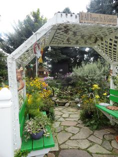 the arbor that our son in law built for the entrance into our gardens