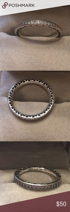 Hearts of Pandora Ring NWOT Hearts of Pandora Ring. Size 56 (7.5) clear cz. Sterling silver. No box included Pandora Jewelry Rings