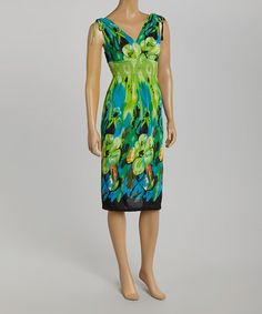 Love this Lime & Teal Floral Nicole Empire-Waist Dress by 3R Street Wear on #zulily! #zulilyfinds