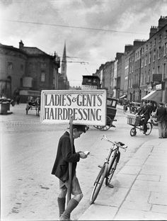 Get Your Hair Cut, O'Connell Street, Dublin 1933 Ireland Pictures, Images Of Ireland, Old Pictures, Old Photos, Vintage Photos, Dorset Street, Social Photography, Old Irish, Ireland Homes